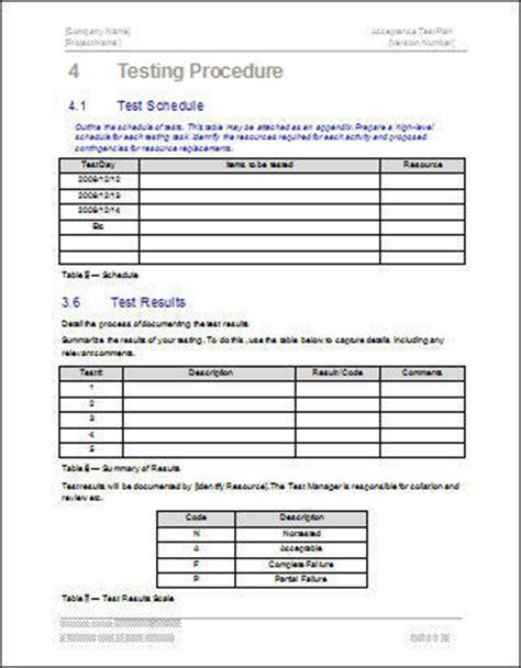 acceptance test plan software software templates
