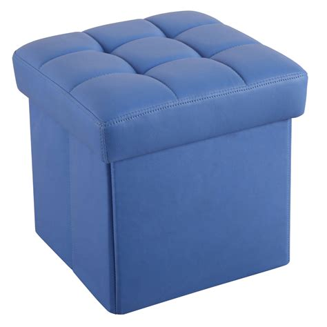 Colored Leather Ottoman Organizer Cube Storage Ottoman Footstools Poufs Pu