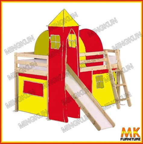 Tenda Anak Kayu kayu pinus tidur castle anak tidur dengan slide dan tenda
