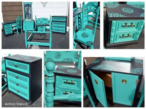 turquoise to teal painted stenciled furniture 171 stencil stories