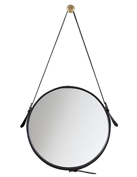 Ballard Design Furniture high vs low round leather mirrors