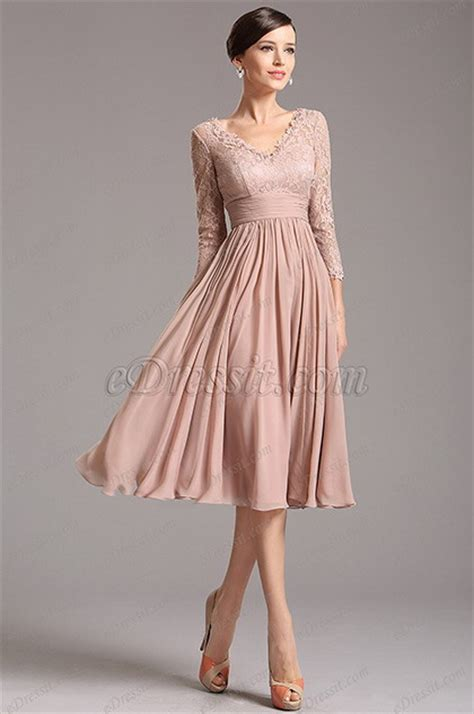 formal christmas tea rosy brown tea length cocktail dress with lace sleeves 26160146