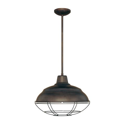 Single Pendant Light Fixture Shop Millennium Lighting Neo Industrial 17 In Rubbed Bronze Industrial Single Warehouse Pendant