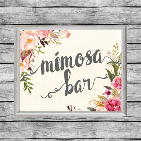 printable bridal shower signs mimosa bar sign mimosa bar printable bridal shower floral