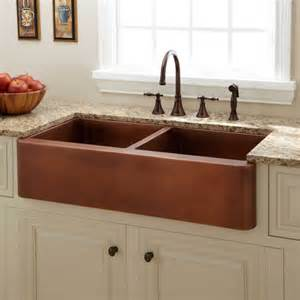 kitchen faucets for farm sinks 39 quot tamba double bowl copper farmhouse sink kitchen