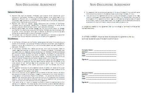 non disclosure agreement template free agreement templates