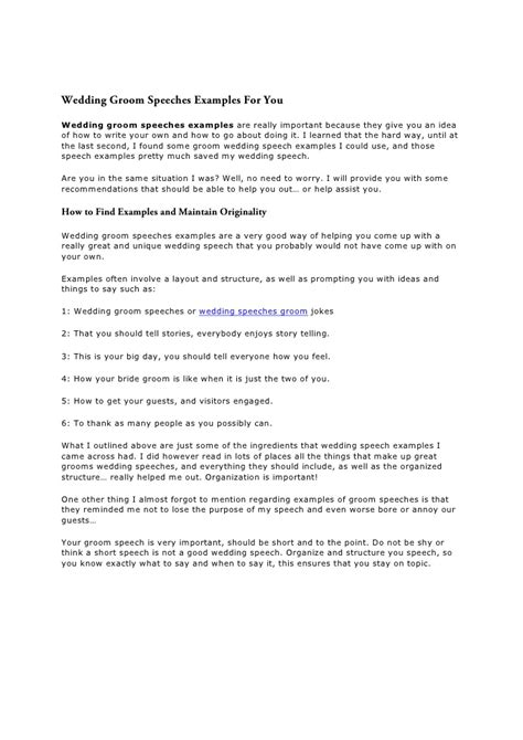 The Wedding Groom Speeches Report Groom Speech Template