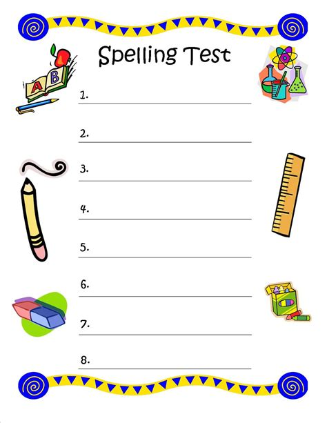 spelling test template bunch of bishops spelling test free printable