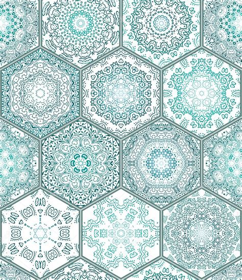 Blue green tiles floor ornament collection gorgeous seamless patchwork pattern colorful painted