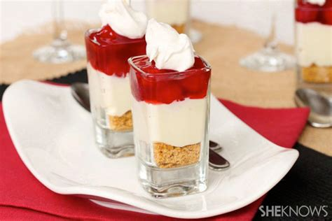 cherry cheese pie in a glass