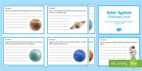 solar system fact cards template finish the solar system fact cards solar system worksheets