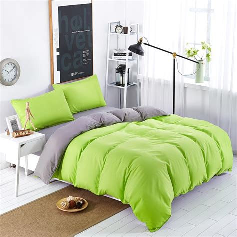 green full comforter set bedding sets simple color green gray striped bed sheet