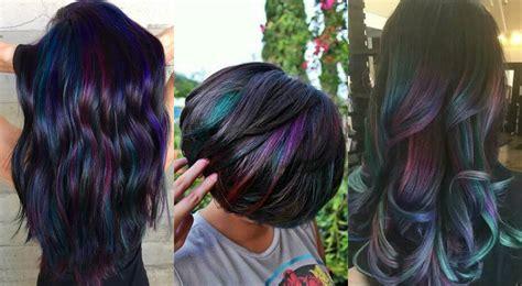 Admiring Brunettes Oil Slick Hair Colors 2017   Hairdrome.com