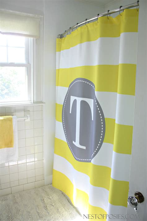 yellow stripe shower curtain yellow striped shower curtain myideasbedroom com