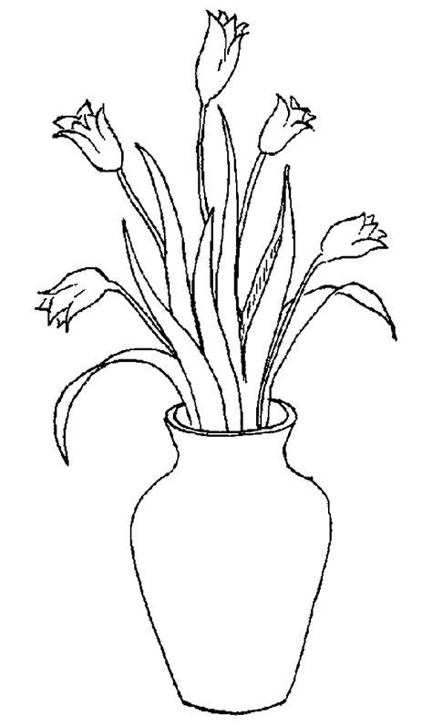 nederland kleurplaten vaas met tulpen