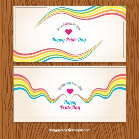 day banners free colorful waves pride day banners vector free