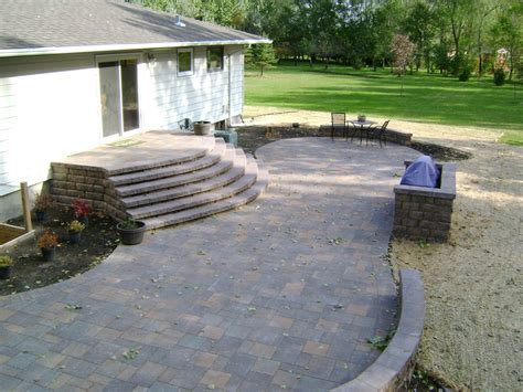 large paver patio paver patio with large staircase and grilling station