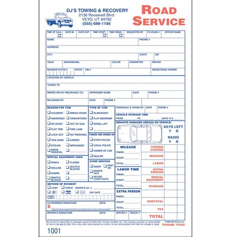 blank towing invoice