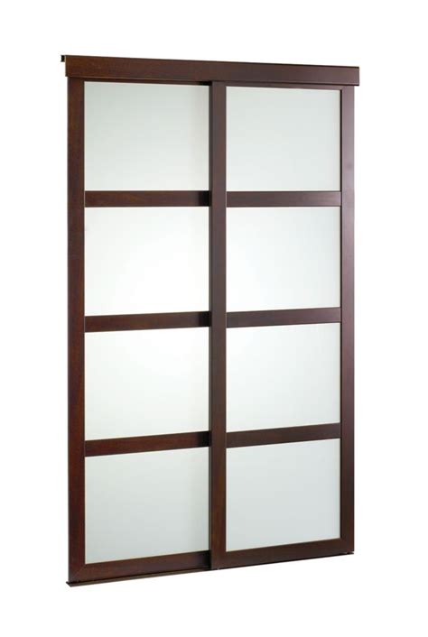60 Inch Bifold Closet Doors by Veranda 60 Inch Espresso Framed Frosted Sliding Door The Home Depot Canada