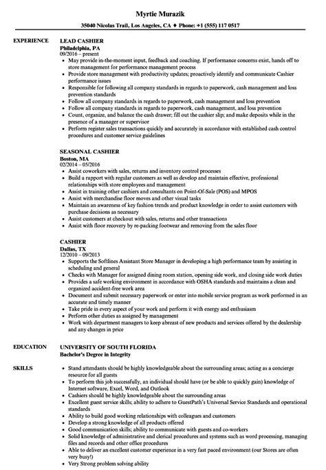 resume for cashier exle cashier resume sles velvet