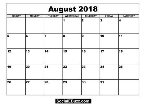 printable calendar 2018 august august 2018 calendar printable larissanaestrada com