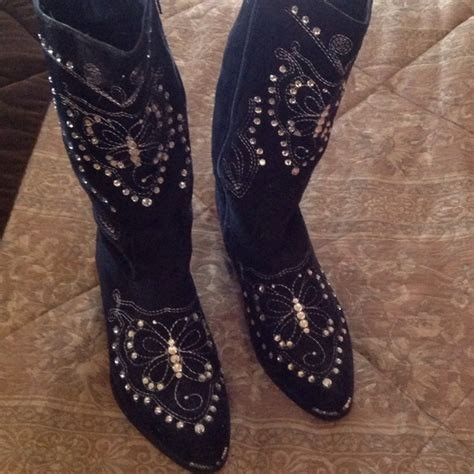 black suede rhinestone cowboy boots 7 5 from pam s closet
