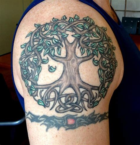 shoulder tree tattoo designs with flying birds tree of on right back
