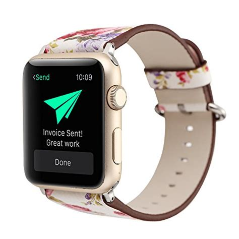 Printed Leather Band For Apple 38mm Flower Rural 7 bracelet for apple national black white floral