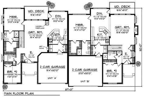 ranch duplex floor plans traditional ranch duplex 89253ah 1st floor master