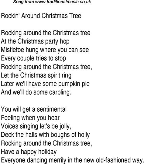 1940s top songs lyrics for rockin around christmas tree