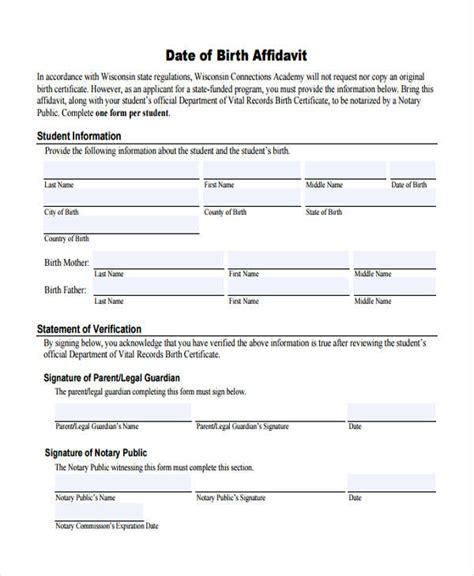 Free Date Of Birth Records 8 Birth Affidavit Form Free Sle Exle Format