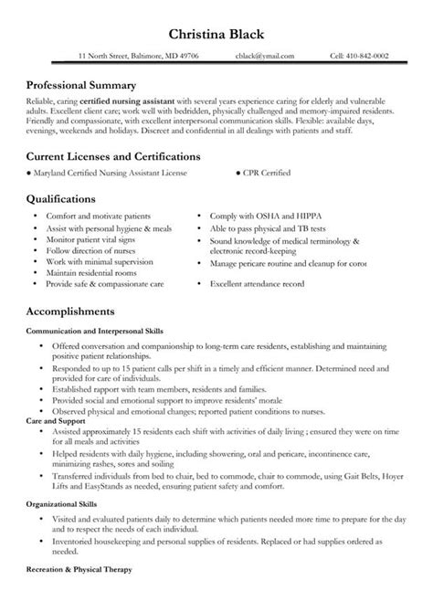 Healthcare Professional Resume Sle certified assistant resume exle 28 images caregiver resume nyc sales caregiver lewesmr