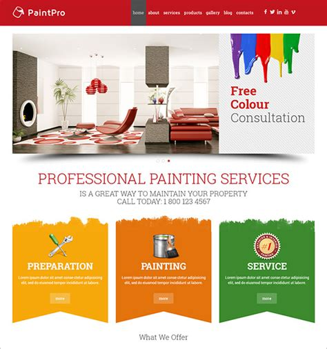 12 Painting Company Wordpress Templates Themes Free Premium Templates Painting Website Templates