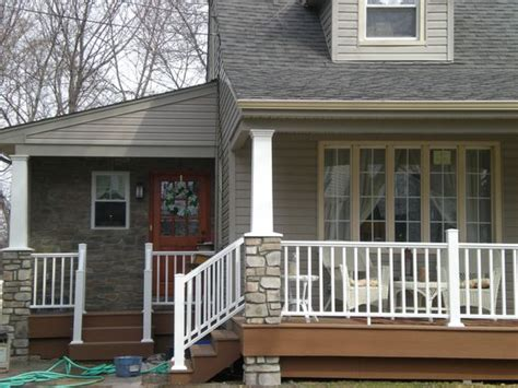 side porch designs stone columns side porch and white vinyl on pinterest