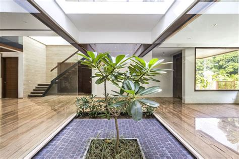 House Design With Interior Garden A Sleek Modern Home With Indian Sensibilities And An
