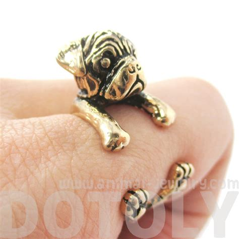 pug wrap ring 3d pug puppy animal wrap ring in shiny gold sizes 4 to 8 5 183 dotoly animal