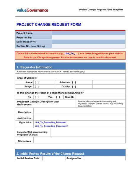 Pm002 03 Change Request Form Template Software Development Request Form Template