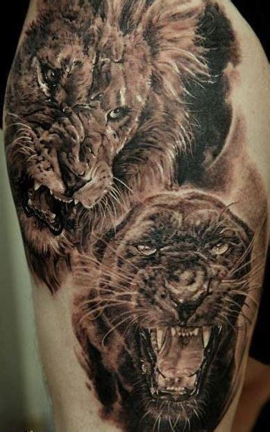 jaguar tattoo 3d 3d realistic lion and black panther tattoo tattooimages biz