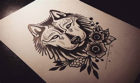 old style tattoos designs traditional uncolored school wolf and flowers