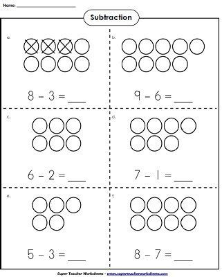 free printable worksheets for kindergarten teachers use counters to learn basic subtraction kindergartenmath