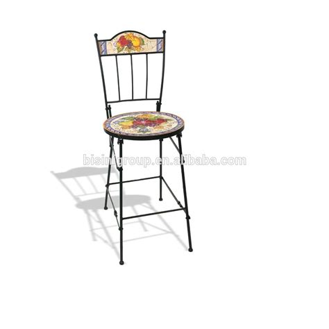 Floral Vegetable Painted Dining Chair Wrought Iron Cast Iron Dining Chairs