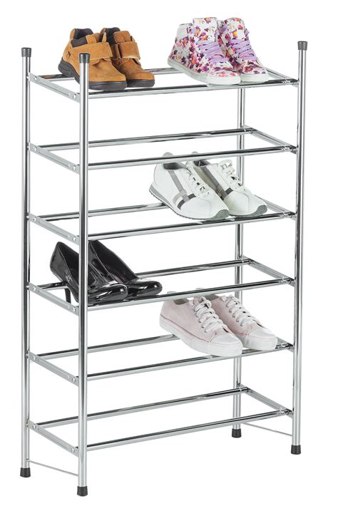 shoe storage argos uk home 6 tier extendable shoe rack chrome for 163 27 99 from