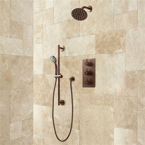 isola thermostatic shower system with wall shower hand
