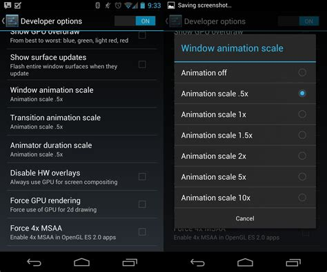 android developer options android tip change the animation scale in developer options for a snappier android 4 2