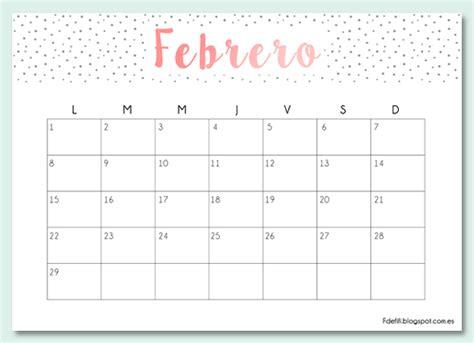 Calendario De Febrero De 2017 Imprimible Gratuito Calendario Para Febrero 2016 F