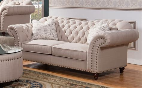 traditional button tufted sofa walton traditional button tufted sofa in beige