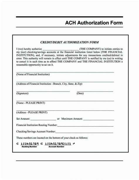 Ach Authorization Form Template Direct Deposit Form Template Template Business