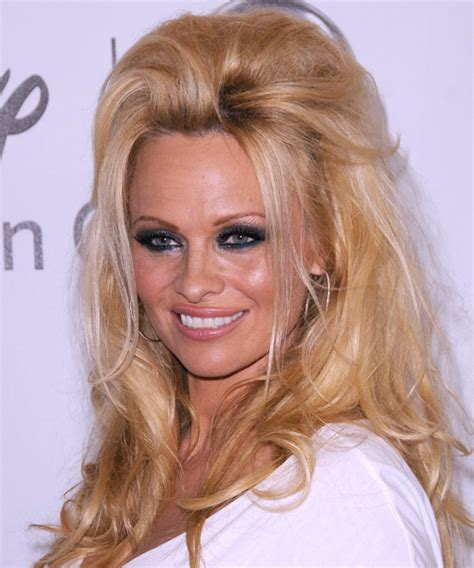 Pamela Anderson Half Up Long Straight Casual Half Up