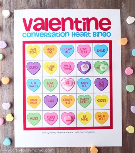 conversation hearts bingo cards template free printable bingo artsy fartsy