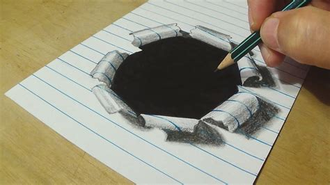 How To Make 3d Drawing On Paper - how to draw paper drawing lined paper with